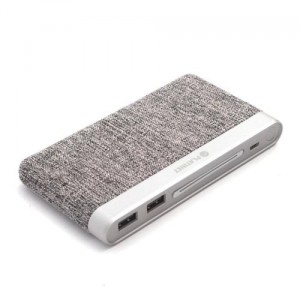 POWER BANK PLATINET 10000mAh polymer FABRIC BRAIDED LIGHT GRAY
